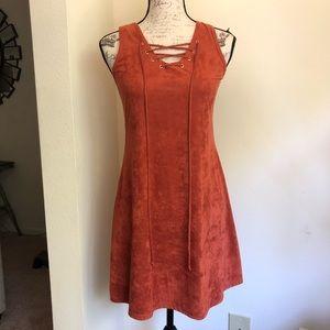 Jody California Burnt Orange Suede Dress